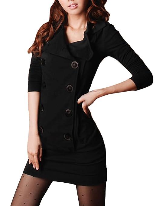 Allegra K Women Long Sleeve Fitted Casual Mini Shirt Dress
