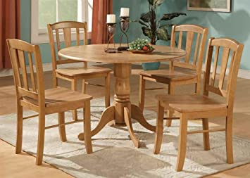 5-Pc Pedestal Dinning Set in Oak Finish