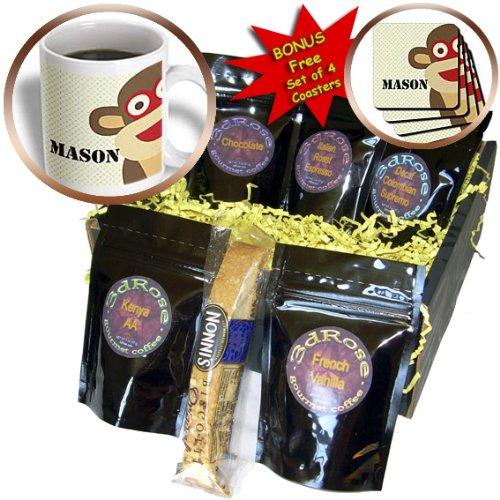 Cgb_123367_1 Ps Animals - Mason Sock Monkey Boy Names Cute Childrens Art - Coffee Gift Baskets - Coffee Gift Basket
