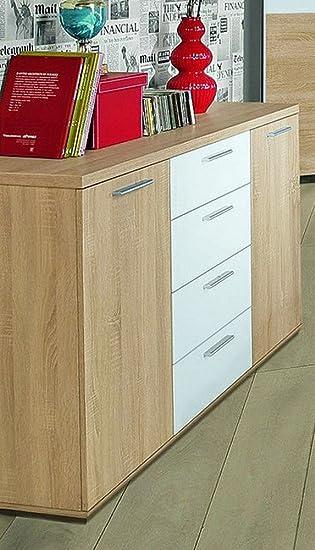 Sideboard Winnie Kommode 4 Schubladen und 2 Turen, Sonoma Eiche / Weiß