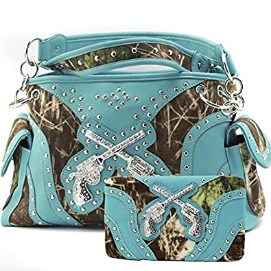 Western Concealed Carry Crossed Guns Purse Camouflage Handbag Camo W Matching Wallet