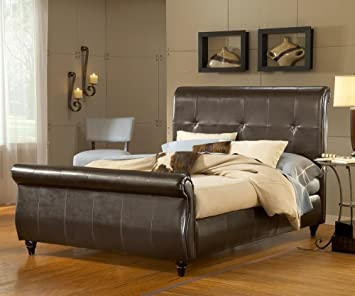 Hillsdale Furniture 1602BQR Fremont Bed Set with Rails, Queen, Brown Leather