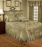 Austin Horn Classics 4 piece Duchess Bedding Collection, King, Aqua Gold