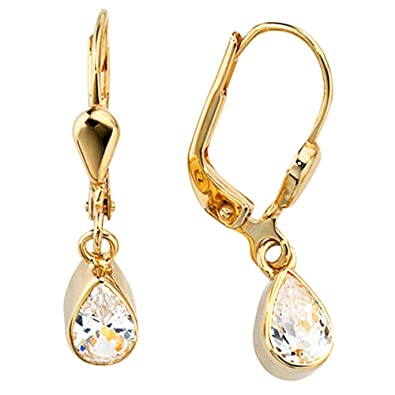 Jobo Bouton Earrings 333 Gold-Earrings 2 Zirconia Regenbogen [Jewellery]