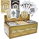 12 Decks (Black/Gold) of Brybelly Elite Medusa Back Casino-Quality Playing Cards - Wide Size / Regular Index