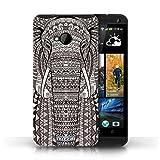 Kobalt Elefante Nero Bianco stampato Custodia Cover per HTC One/1 M7 cellulari telefoni / Collezione Aztec Animal...