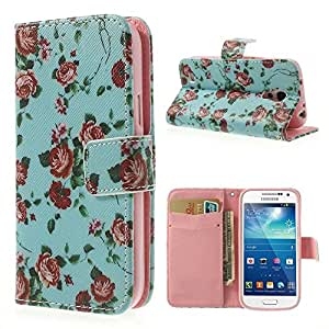 JUJEO Carrying Case for Samsung Galaxy S4 mini I9190/I9192/I9195 - Non-Retail Packaging - Pretty Rose Blue Background