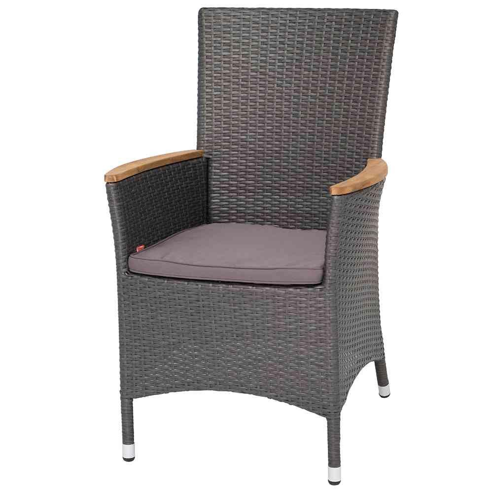 Siena Garden 274427 Sessel Luzern Aluminium-Gestell Gardino®-Geflecht titan inkl. Kissen grau, Armlehnen Teak bestellen