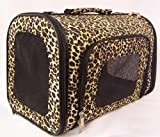 Designer Dog Carrier - Luggage Style Leopard Print Pet Carrier - Brown - Medium