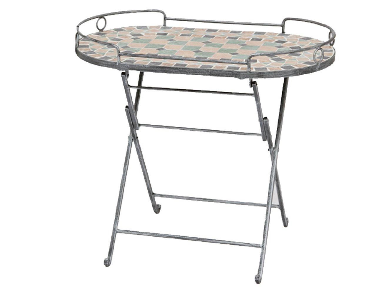 Siena Garden 246956 Serviertisch Fiore, Gestell silber-schwarz matt, Mosaik in der Platte, L 68 x B 41 x H 60 cm günstig online kaufen