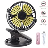 360° Rechargeable USB Clip On Mini Desk Fan,Portable Table-Top Fan Fully Adjustable Head, Three Quiet Speeds, Ideal for Baby Stroller,Office, Home, T