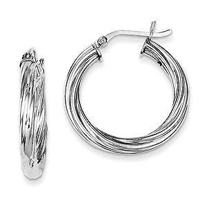 .925 Sterling Silver 17 MM Twist Hinged Hoop Earrings