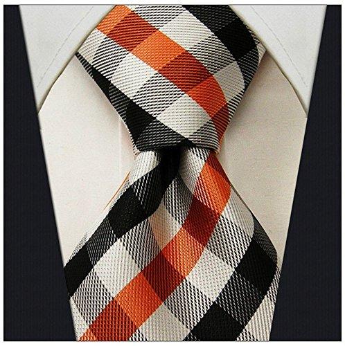 Scott Allan Mens Gingham Plaid Necktie - Orange and Black (Scott Allan Red Ties compare prices)