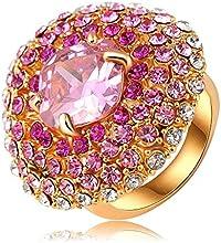 Comprar AnaZoz Joyería de Moda Flor 18K Chapado en Oro Redondo Anillo Cristal Austria SWA Elements Anillos de Mujer