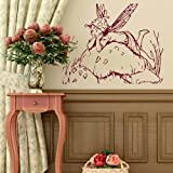 Fairy & Toadstool Wall Sticker / Removable Vinyl Transfer / Interior Art bn60