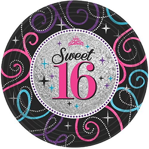 Amscan Elegant Sweet Sixteen Celebration Birthday Party Dessert Plates (8 Piece), Black/Gray, 7""