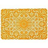 Present Time Set of (4) Vinyl Lace Design Kitchen Table Placemats 18x12 - Orange