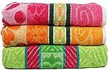 Casa Basics 400 GSM Set Of 3 Jacquard Large Bath Towels 68 X 137 cm- Green,Yellow & Pink