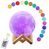 Moon Lamp,3D Print Moon Light with Stand & Remote & Touch Control, Moon Night Lights USB Rechargeable 16 Colors Home Decorative Lunar Lights for Nurse