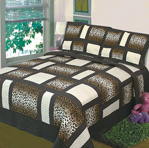Fancy Collection 3 Pc Bedspread Bed Cover Animal Print Leopard Brown Beige (Queen) front-782655