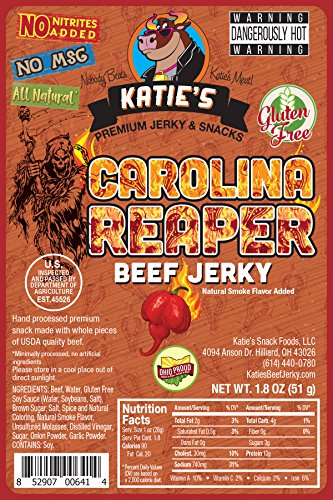 Carolina Reaper Super Spicy Beef Jerky-GLUTEN FREE - No Preservatives, Nitrites, or MSG (Dehydrated Carolina Reaper compare prices)