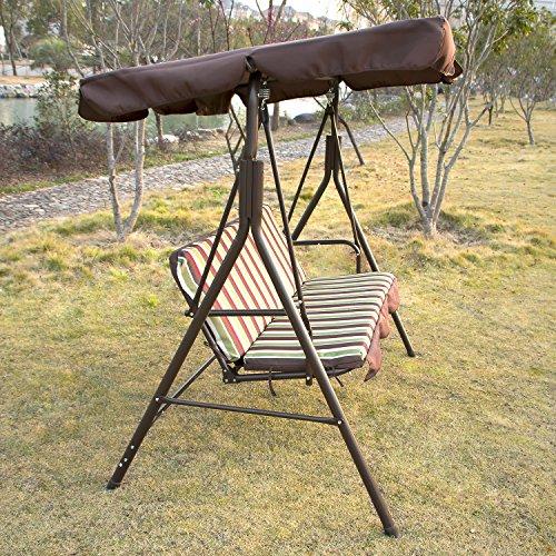 outdoor 3 person canopy swing chair patio backyard mesh seat beach