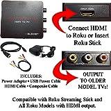 HDMI to 3RCA Composite AV Converter for Roku [Roku 2, Roku 3, Roku 4, Roku Express, Roku Ultra, Roku Premiere, Roku Premiere+ and Roku Streaming Stick (all models)] (Color: White)