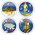 CoasterStone AS1100 Absorbent Coasters, 4-1/4-Inch, Marine Life, Set of 4