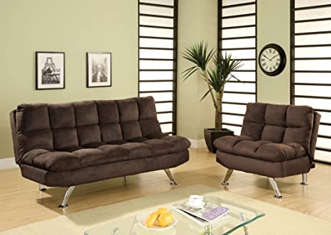 Cocoa Beach Contemporary Style Design Chocolate Brown Finish Plush Microfiber Cushions Futon Sofa with Chrome Finish Legs