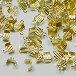 300 Cord Ends, Gold-plated Brass, Fold Over 6.5x4.5mm. Sold Per Pkg of 300.