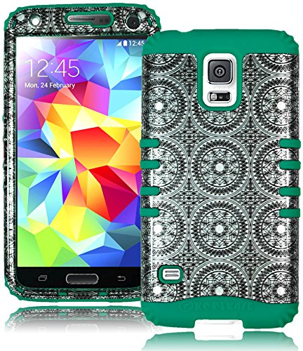 Bastex Heavy Duty Hybrid Case For Samsung Galaxy S5 I9600 - Teal Silicone Cover/ Antique Circle Design Hard Shell front-468047