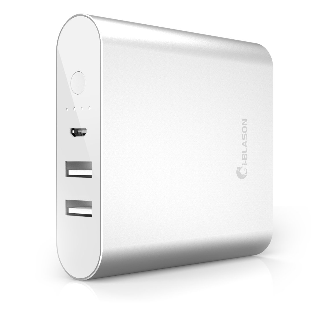 i Blason® Aero 10400 mAh Dual Port Ultra Compact External Battery Portable USB Charger Power Bank   Intelli ChargeTM Wide Compatibility, Fast Charging, High Capacity   For Apple iPhone 6 Plus 5s 5c 5, Apple iPad Air mini, Samsung Galaxy S5 S4 Active Mini, Galaxy Tab 4 3 2 Pro S, Note 3 4 Pro Edge, LG G3 G2, Nexus 6 5 4, HTC One M8, MOTO X X+1, PS Vita and More (Silver)Customer review and more info