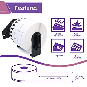 Fimax Compatible Label Replacement for DK-2205 Continuous Tape 2-3/7 x 100' (62mm x 30.48m) to use with Brother QL-810W QL-820NWB Label Printers, 6 Rolls + 1 Refillable Frame (Color: 6 Rolls, Tamaño: 2-3/7 x 100' (62mm x 30.48m))