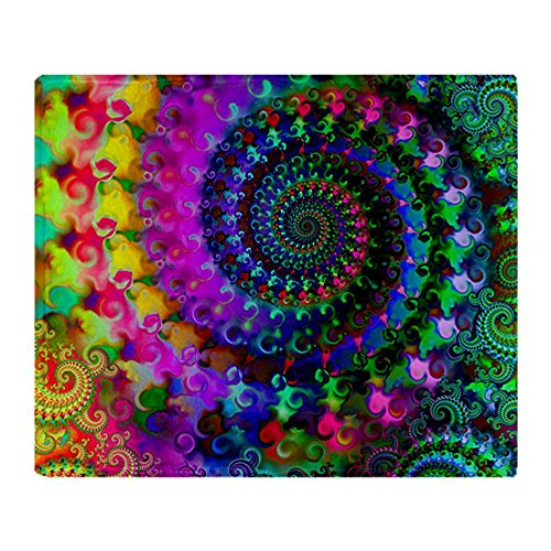 CafePress Psychedelic Rainbow Fractal Pattern Throw Blanket - Standard