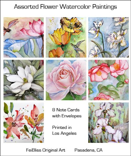 Flower Greeting Cards Assorted Floral Watercolor Botanical Note Cards Set of 8