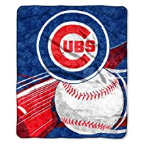 """MLB Chicago Cubs 50-Inch-by-60-Inch Sherpa on Sherpa Throw Blanket """"Big Stick"""" Design"""