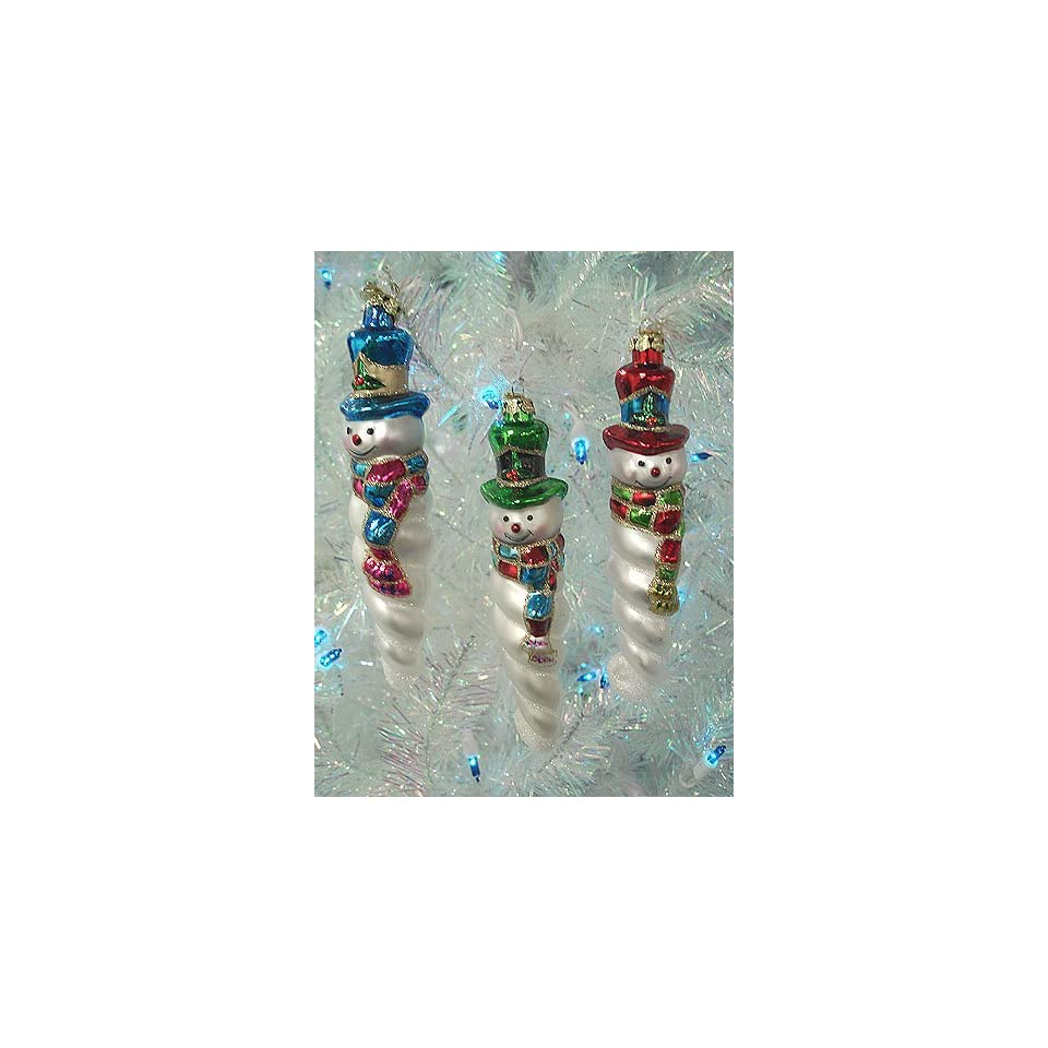 Set Of 3 Colorful Glass Icicle Snowman Christmas Ornaments #C1644