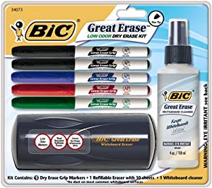 BIC Dry Erase Marker Kit 5 markers, whiteboard cleaner and whiteboard Eraser Assorted