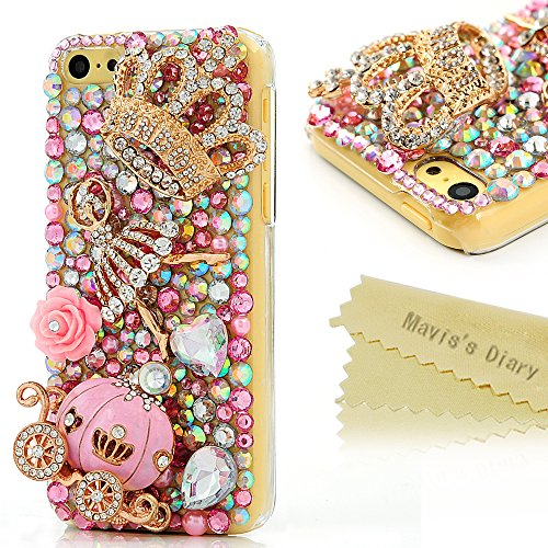 Mavis's Diary 7Y9TZ862S Luxury Series Handmade 3D Bling Crystal Full Diamond Cinderella Fairy Tale Design Clear Hard Back Cover for iPhone 5C with Clean Cloth - Pumpkin Carriage (I Phone 5c Cases Gems compare prices)