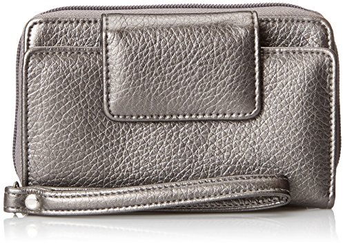 buxton-womens-pewter-rfid-blocking-identity-safe-wristlet-clutch-zip-tab-wallet