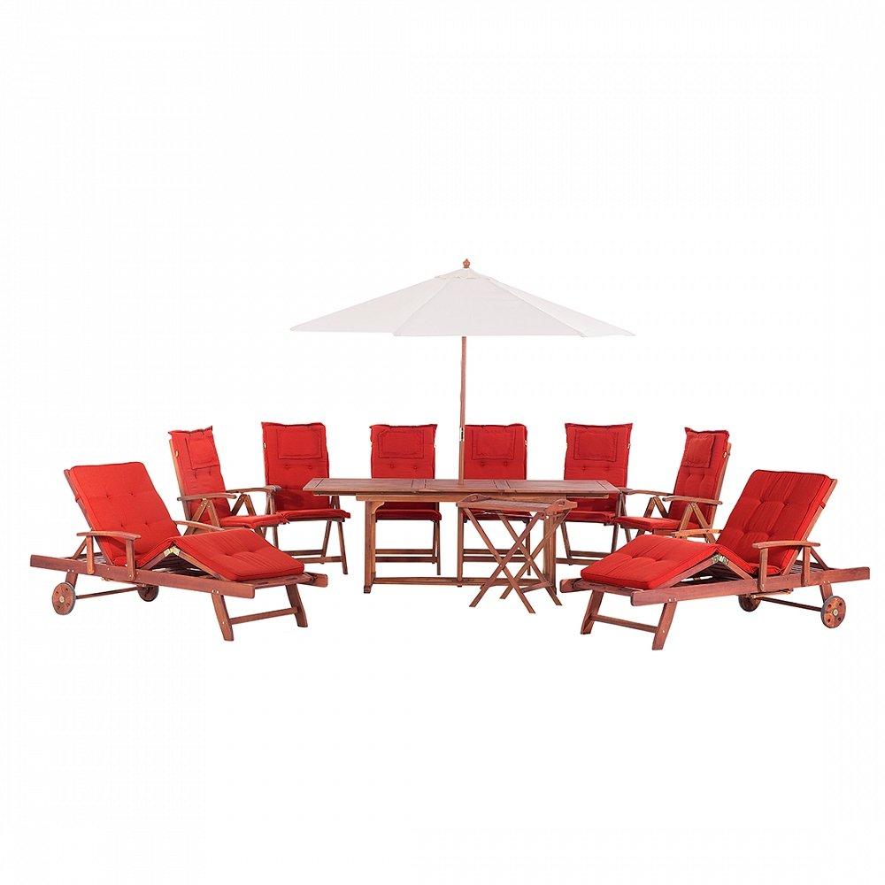 Gartenmöbel Set aus Holz - Tisch eckig - 6x Stuhl - 2x Liege - Sonnenschirm - TOSCANA terracotta
