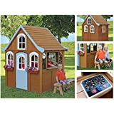 Children Wooden Playhouse a Unique Play House in a cute country style on Sale - Our garden farm outdoor log cabin from Cedar Childrens Welcome Home Playhouses comes with wood cover roof, front dormer and play accessories toys for kids + Bonus eBook