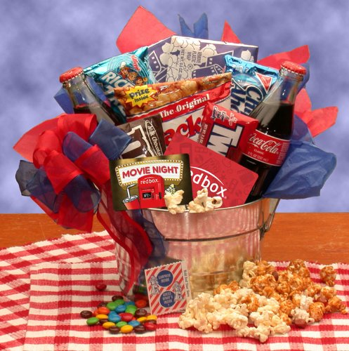 Snack Gift Pail With 10 Redbox Movie Rentals For Her