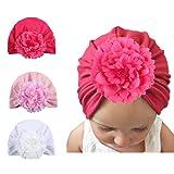 Newborns Hat Baby Girls Headbands Floral Cotton Hats Baby Toddlers Turban Cap (Flowr Hat) (Color: Flowr Hat, Tamaño: One Size)