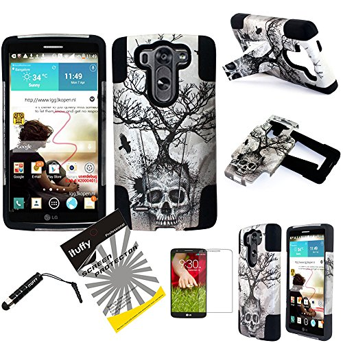 LG G3 Case / LG G3 D855 / ITUFFY(TM) 3items Combo: LCD Screen Protector Film + Stylus Pen + 2Tone Design (Dual Layer- Plastic Cover + Soft Rubber Silicone) Built-in KickStand Impact Resistance Tuff Armor Case (Silver Gray Skull Tree - Black) (Lg G3 Phone Case With Kickstand compare prices)