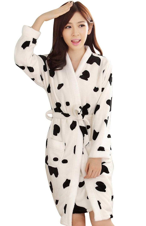 AIVTALK Damen Mädchen Flanell Nachtwäsche Set Nachtkleid Morgenmantel 2 in 1 – Pfingstrose Pattern Milchkuh Pattern günstig kaufen