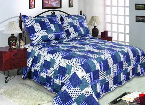All for You 3-Piece Reversible Bedspread, Coverlet, Quilt Set