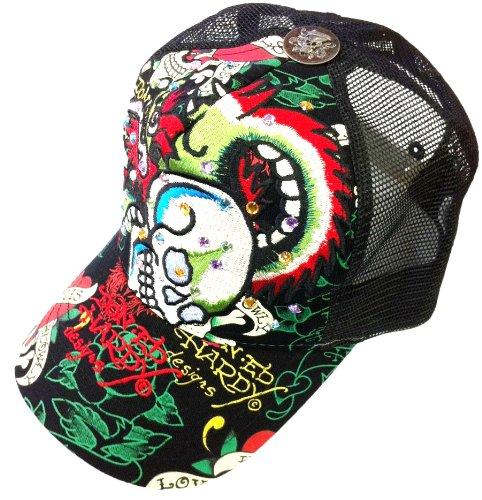 New Ed Hardy By Christian Audigier Dragon Skull Rhinestone Trucker Hat Cap