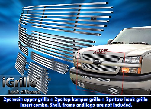 Stainless Steel eGrille Billet Grille Grill Combo For 03-05 Chevy Silverado 1500HD/2500 (03 Silverado Billet Grill compare prices)