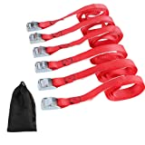 XSTRAP Cam Buckle Straps 6PK 8FT Powersports Tie-Downs 1-Inch Red (Color: Red)